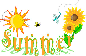 Clip Art Illustration of Summer Text with Flowers and Insects